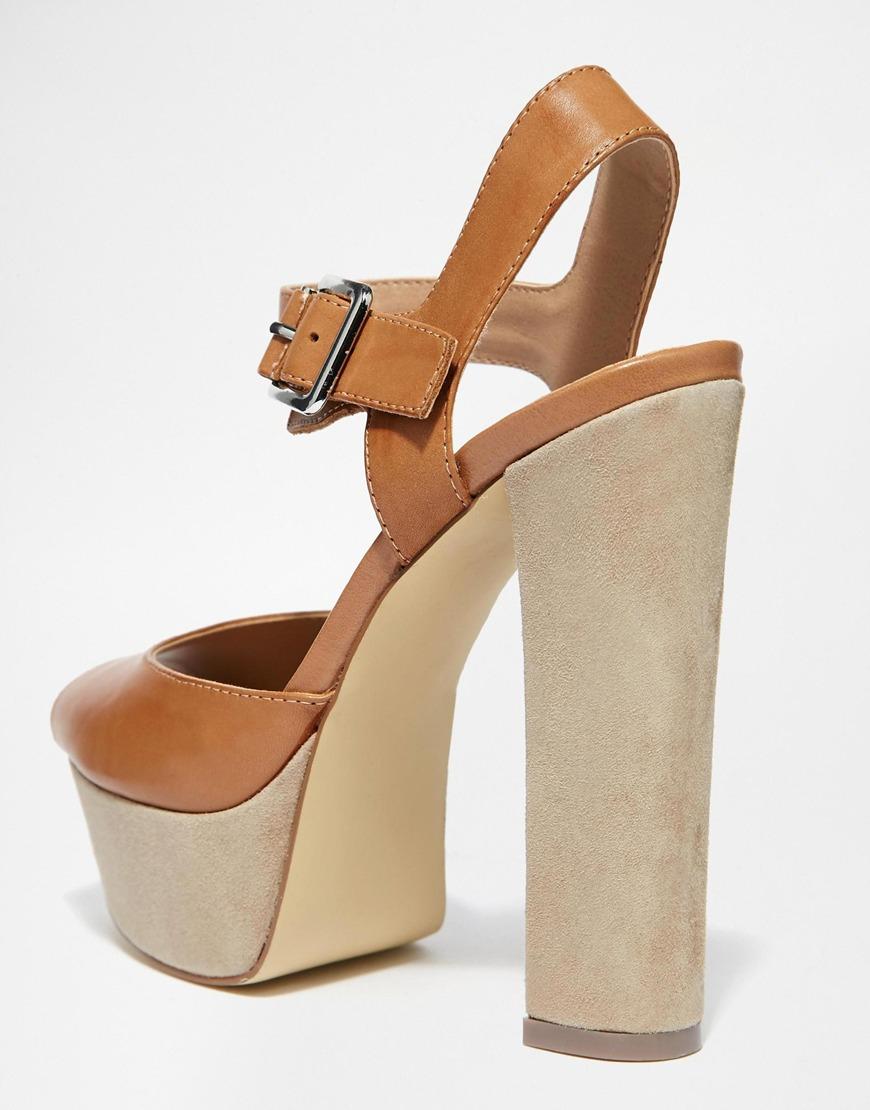 Lyst Steve Madden Jillyy Tan Platform Heeled Sandals In