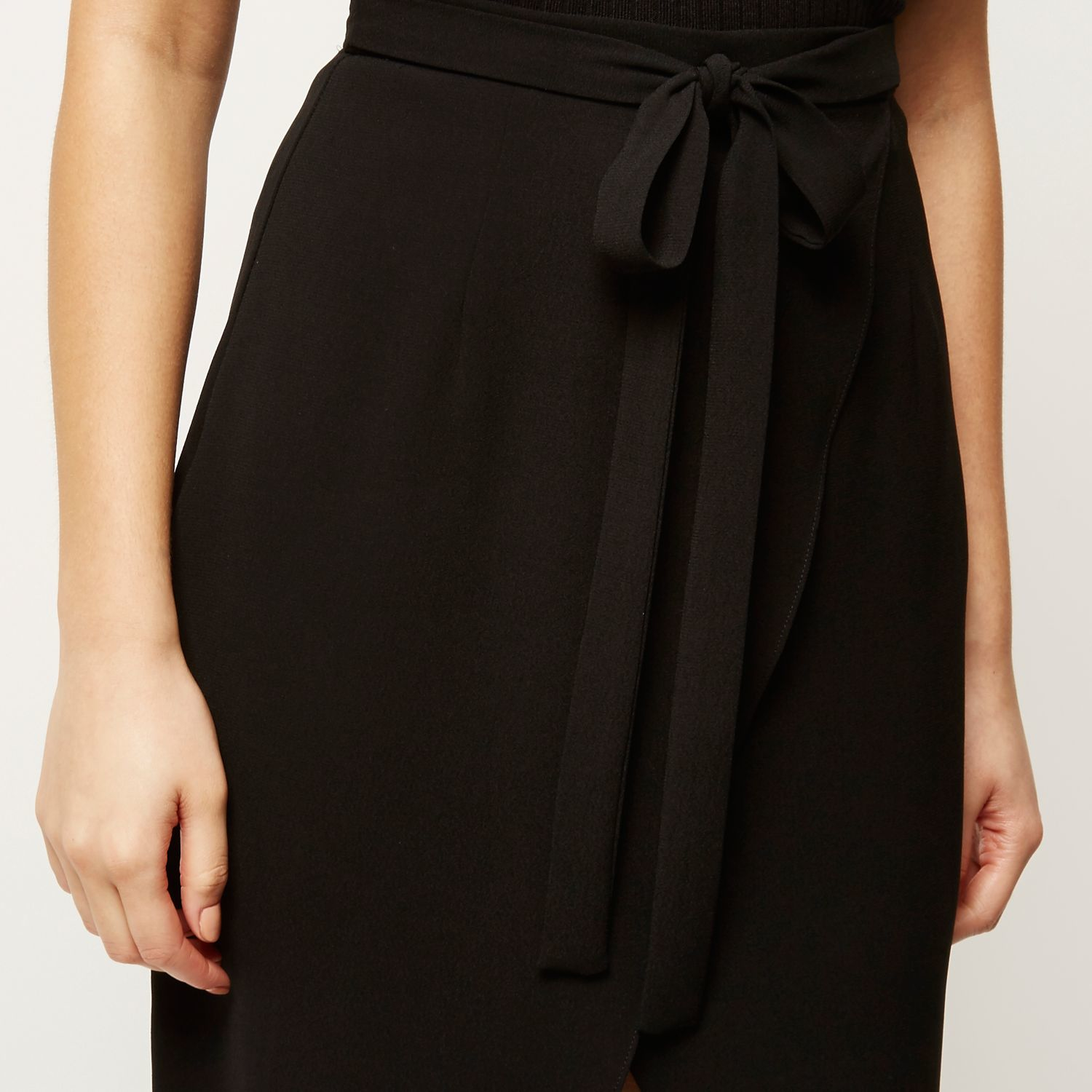 River island Black Wrap Tie Midi Skirt in Black | Lyst