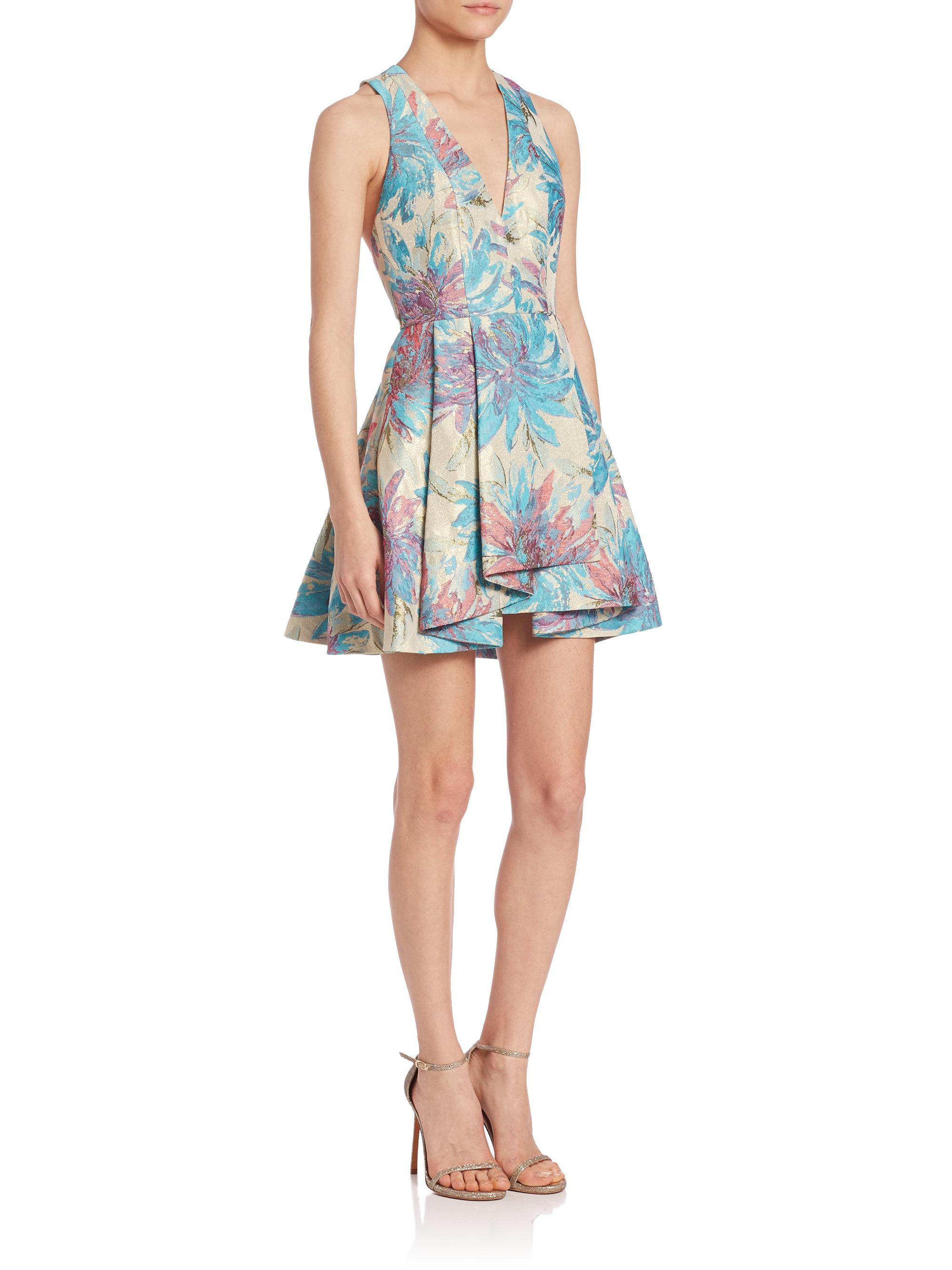 Alice Olivia Tanner Asymmetrical Dress In Blue Lyst