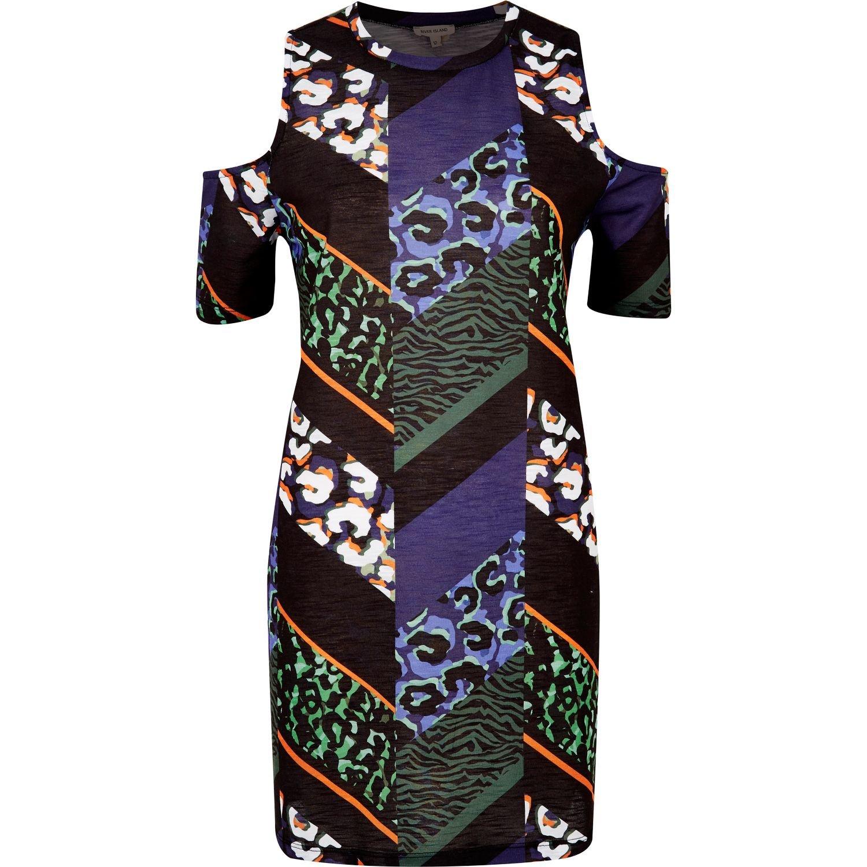 Lyst River Island Black Aztec Print Cold Shoulder Dress
