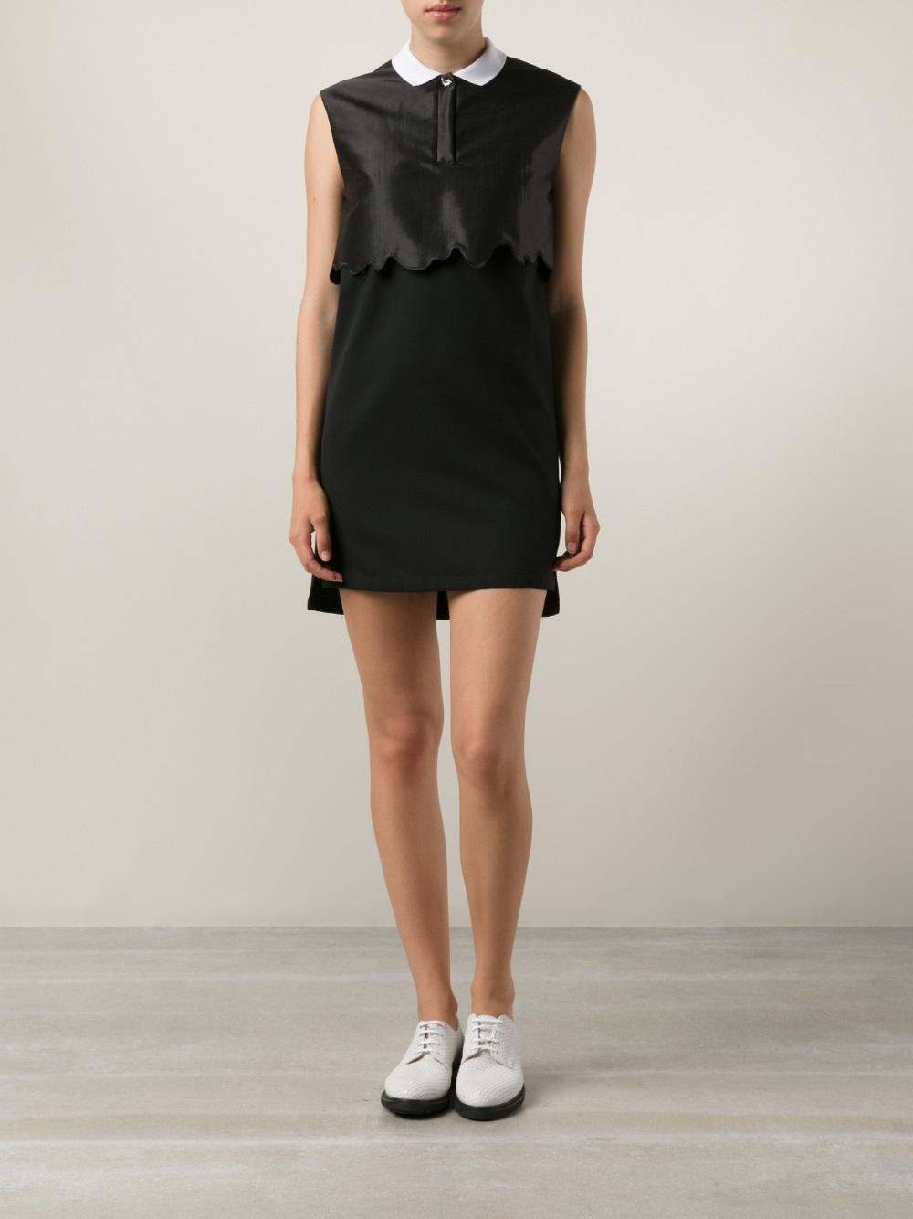 Lyst Kenzo White Collar Sleeveless Dress In Black