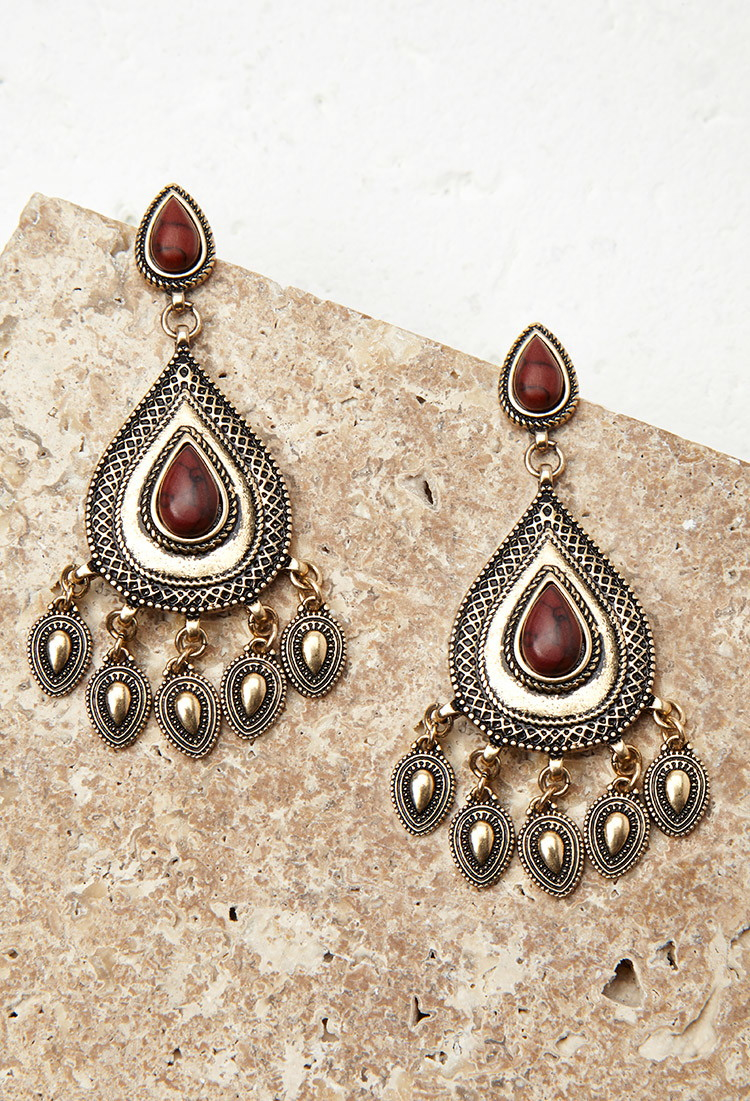 Forever 21 faux stone drop earrings in brown lyst for Forever 21 jewelry earrings