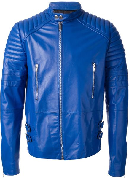 Blue Leather Jacket Jacket in Blue For Men