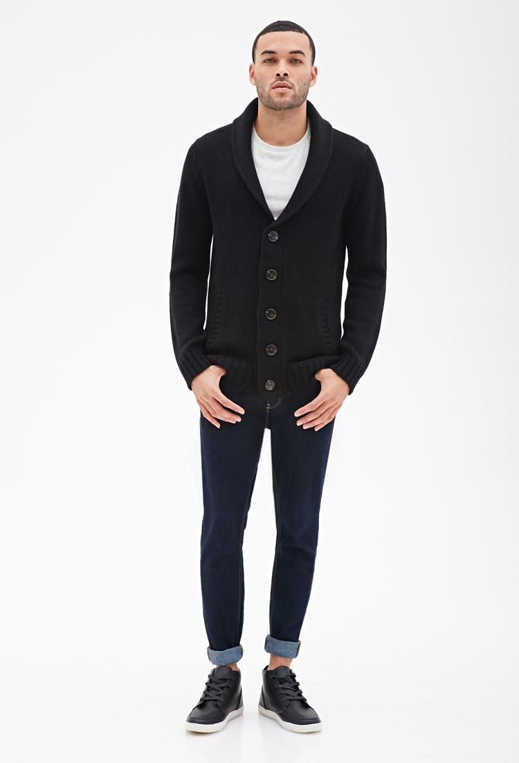 Forever 21 Shawl Collar Cardigan in Black for Men | Lyst