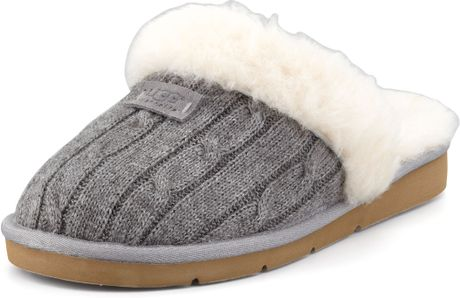 Ugg Cozy Knit Shearling Slipper Mule In Beige Heather