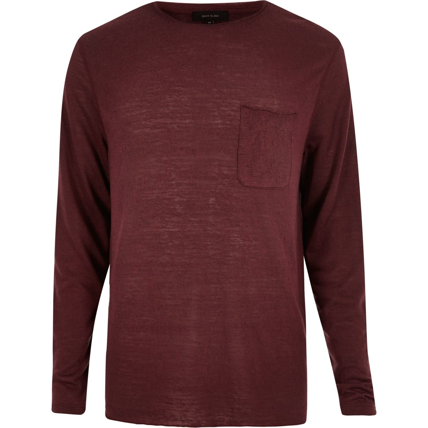 River island Dark Red Long Sleeve T-shirt in Red for Men | Lyst
