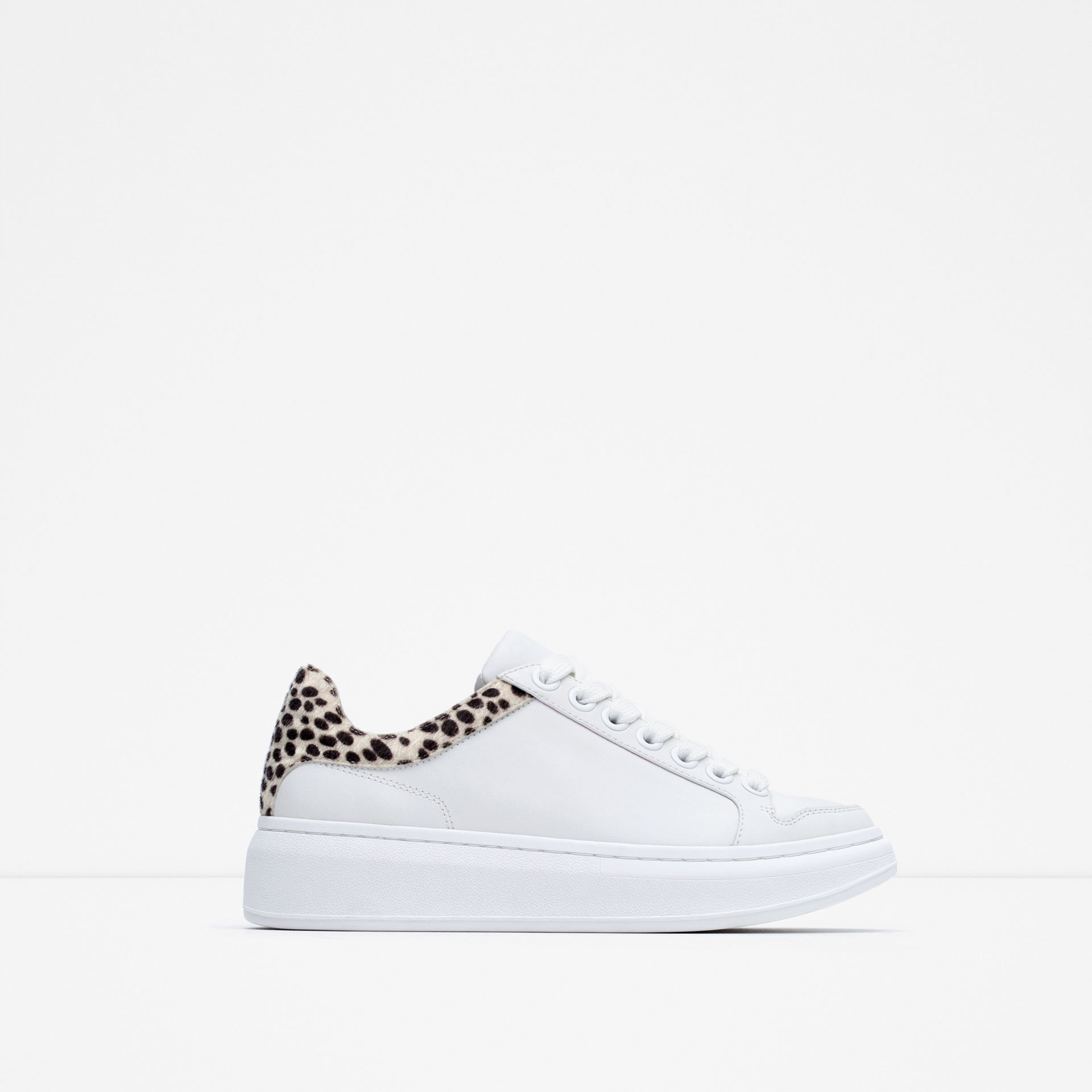 Zara Leather Platform Sneakers In White Lyst