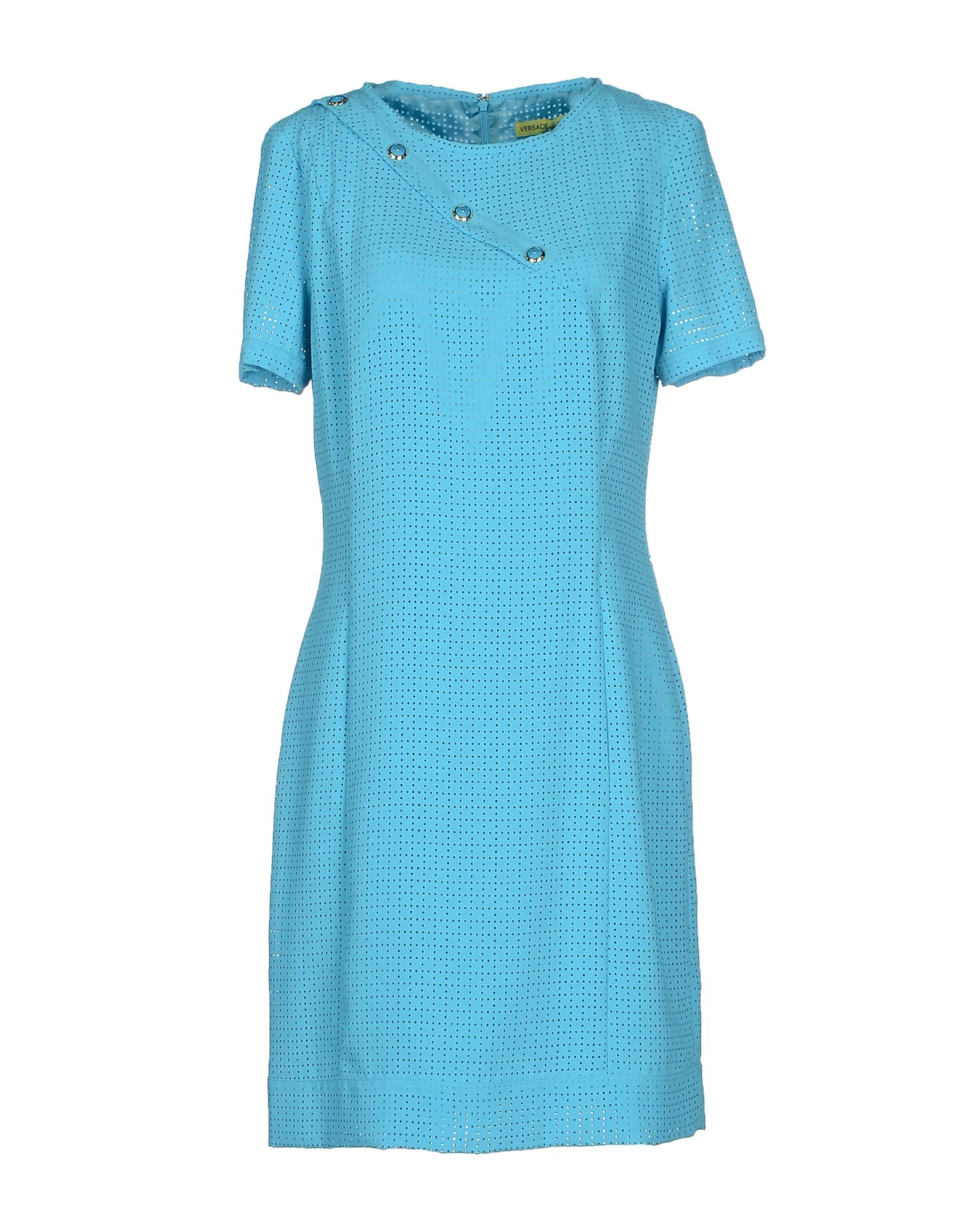 versace jeans short dress in blue azure lyst