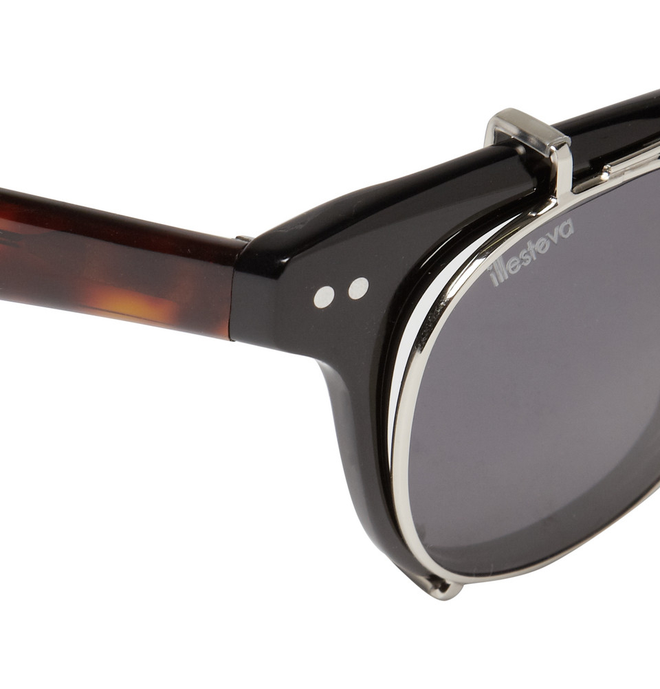 Lyst - Illesteva Lenox Detachable Front Square-Frame Sunglasses in Black  for Men df132d32eb