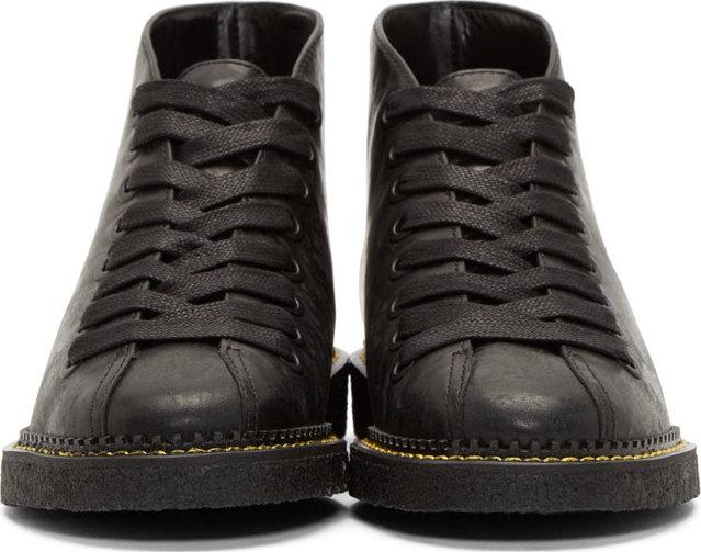 alexander wang black glazed leather emmanuel desert boots in black lyst. Black Bedroom Furniture Sets. Home Design Ideas