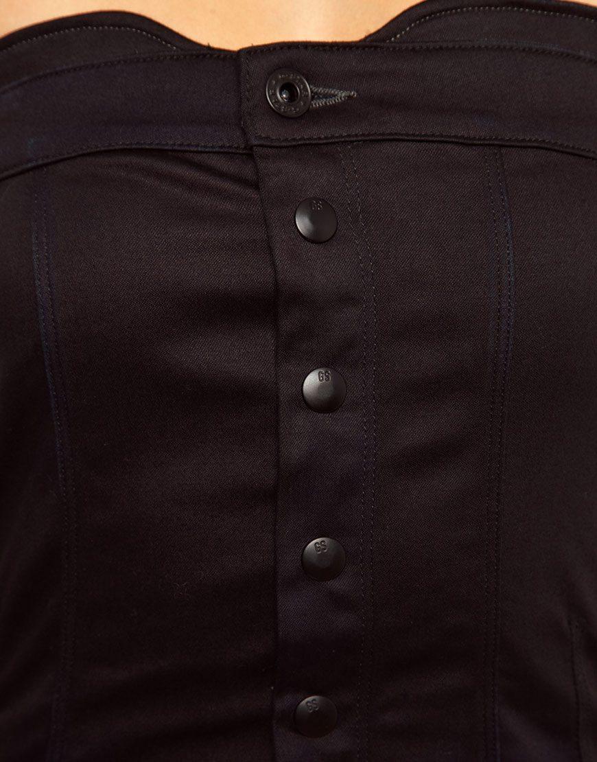 g star raw denim bandeau jumpsuit in blue lyst. Black Bedroom Furniture Sets. Home Design Ideas