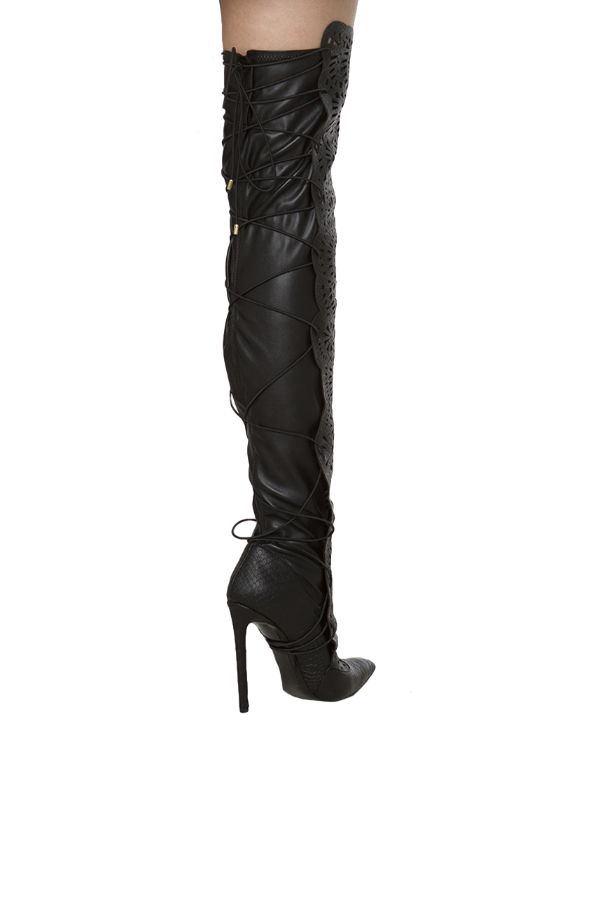 108d636114 Lust For Life Lexx Tie Back Snakeskin Textured Lasercut Thigh High ...
