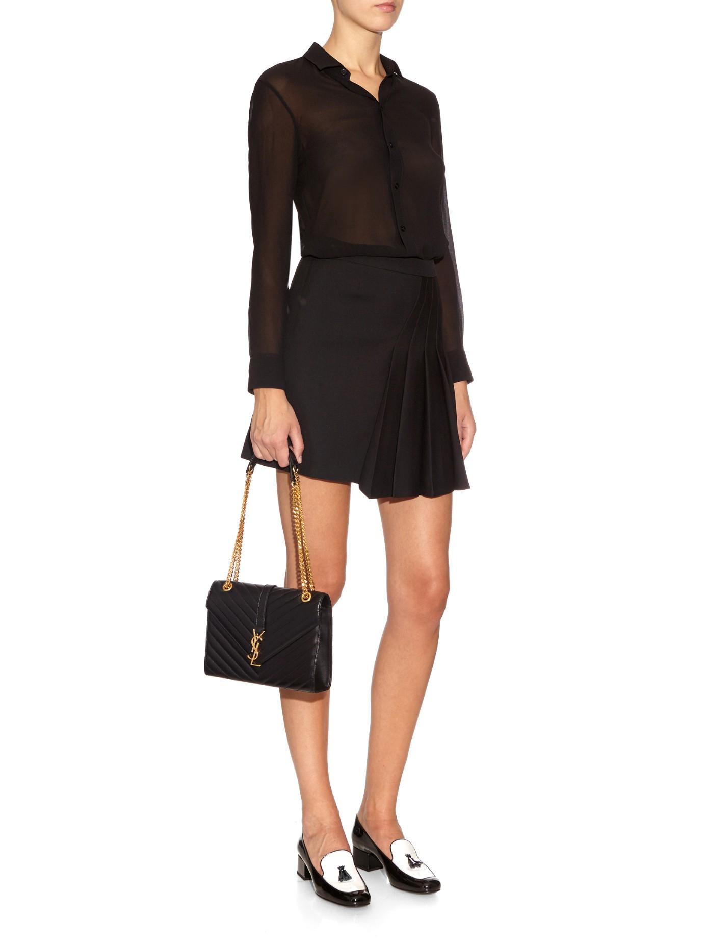 Lyst - Saint Laurent Classic Monogram Quilted-Leather Shoulder Bag in Black e81c1425a8047