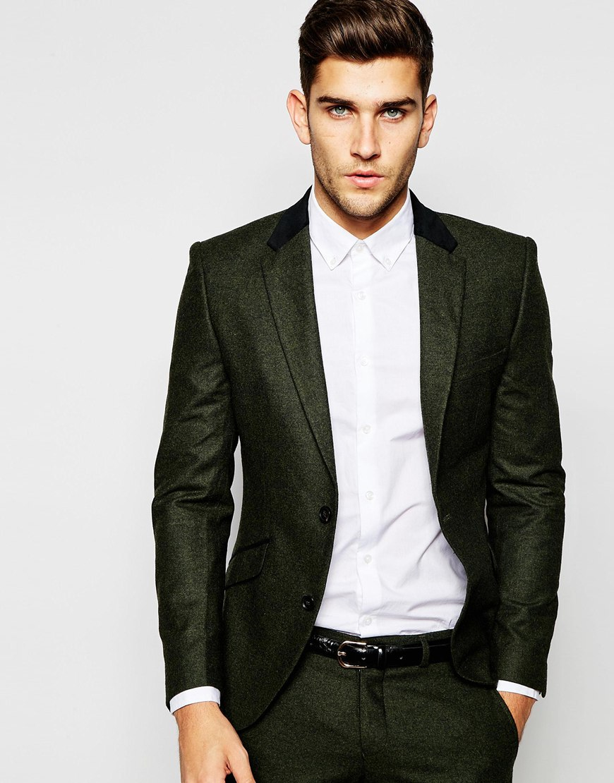 Selected Elected Homme Wool Suit Jacket With Velvet Back Neck In ...