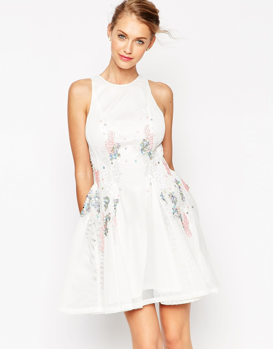 Asos Mesh Skater Dress With Scattered Sequins in White | Lyst