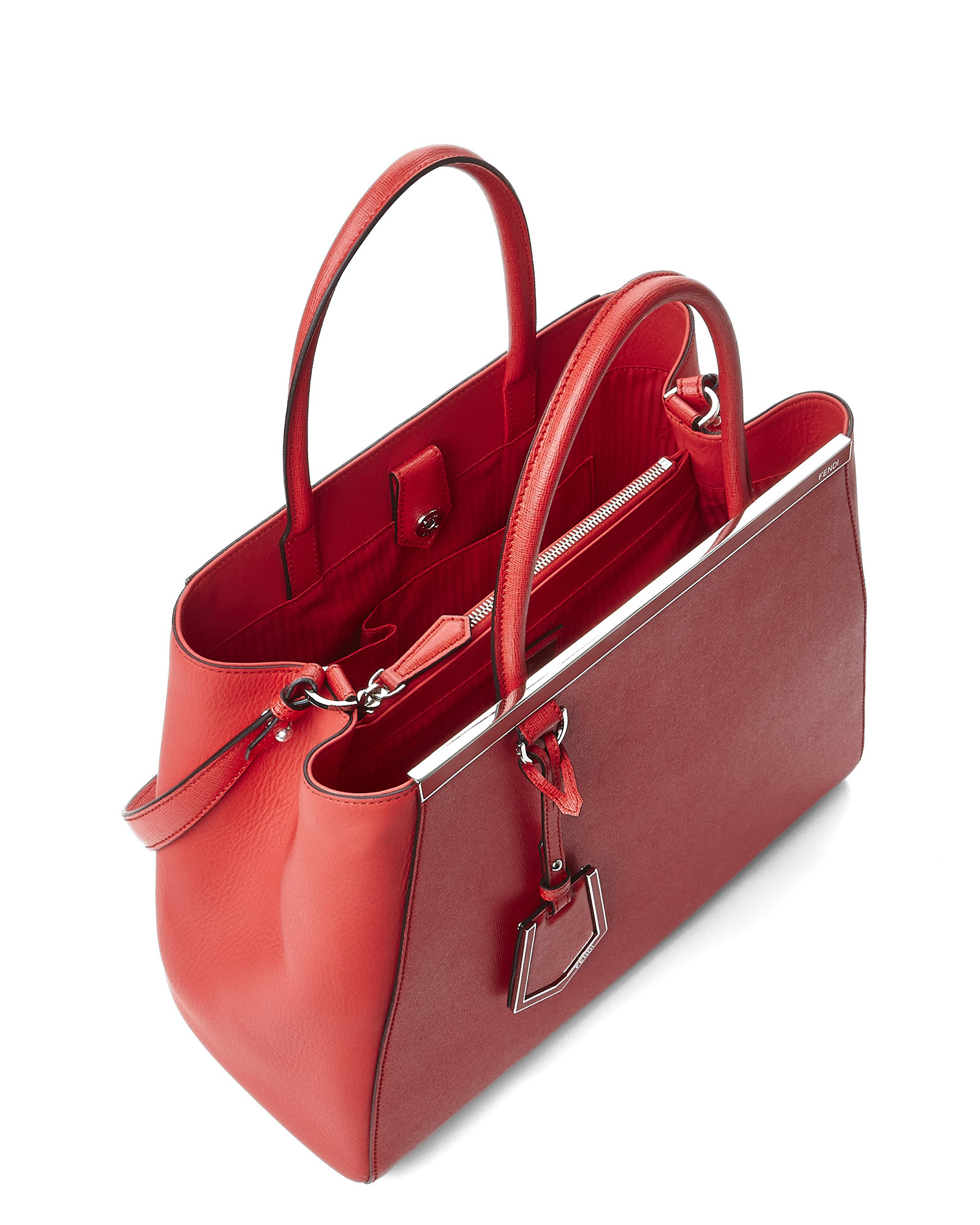 06aeea4b9c16 Lyst - Fendi Coral 2Jours Tote in Red