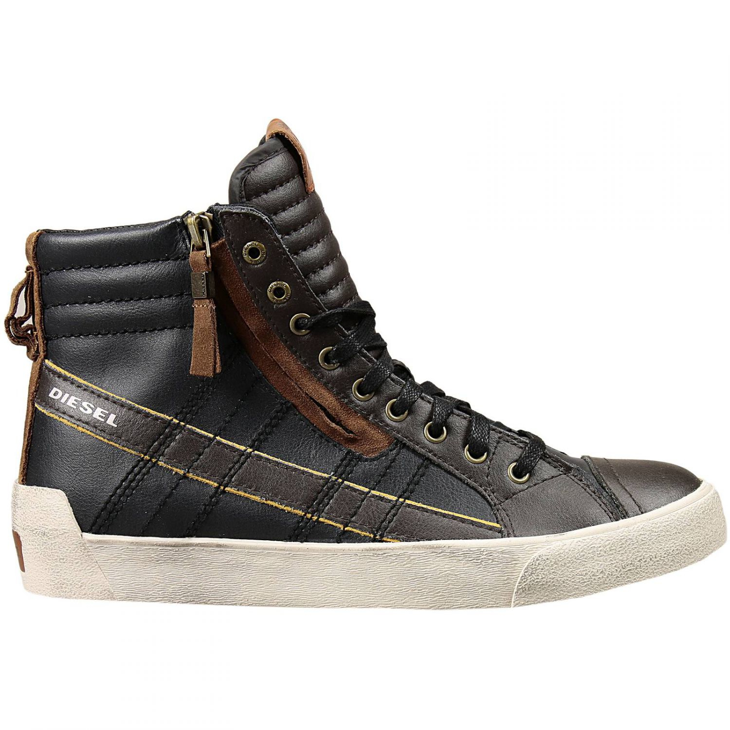 Lyst - DIESEL High-Top Leather Sneakers in Blue for Men