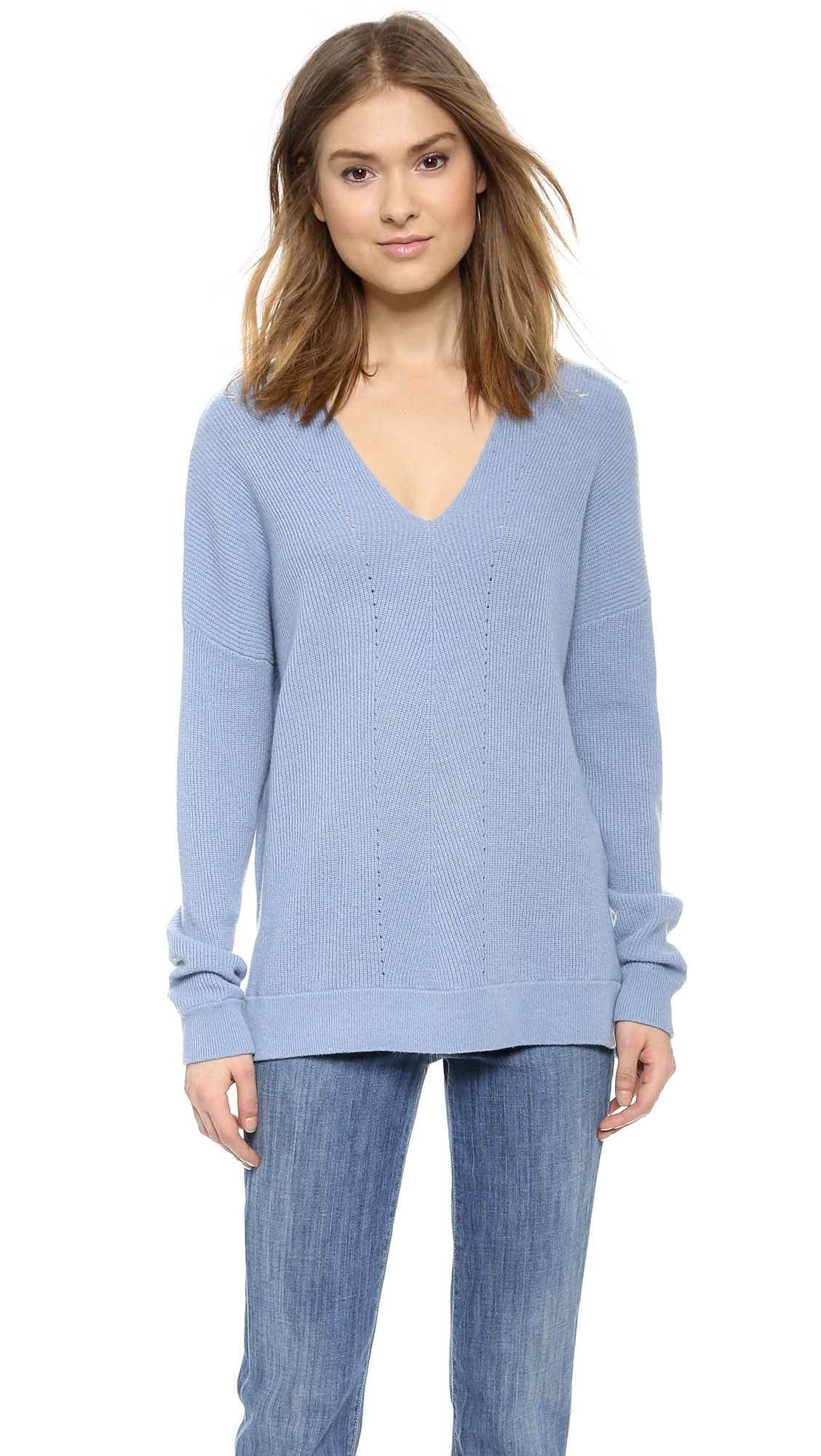 Vince Vee Layout Cashmere Sweater - Slate Blue in Blue | Lyst