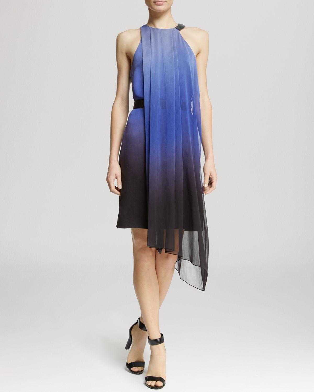 Asymmetric Drape Dress: Asymmetric Flowy Drape In Blue