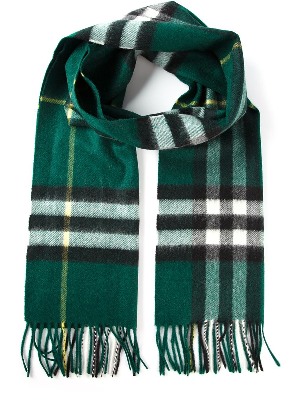 Burberry House Check Scarf in Green for Men | Lyst
