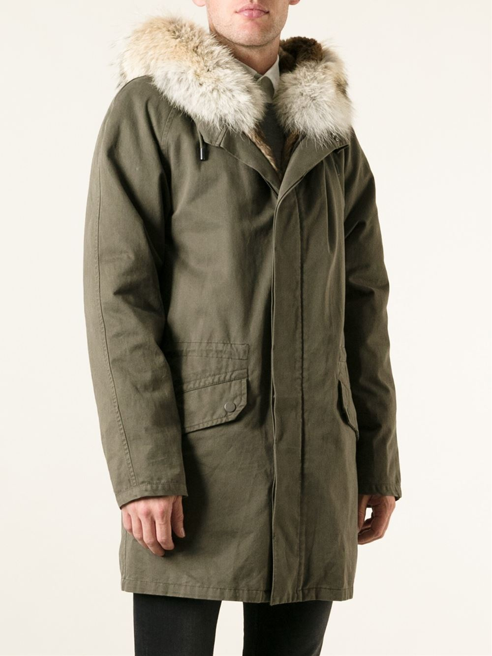 756d46a1a013 Yves Salomon Lining and Trimmed Hood Parka in Green for Men - Lyst