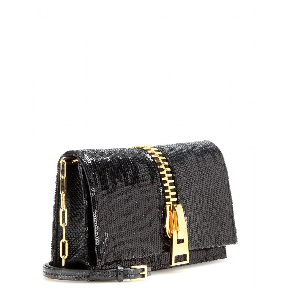 the best purse - Tom ford Small Zip Front Sequin-Embellished Shoulder Bag in Black ...