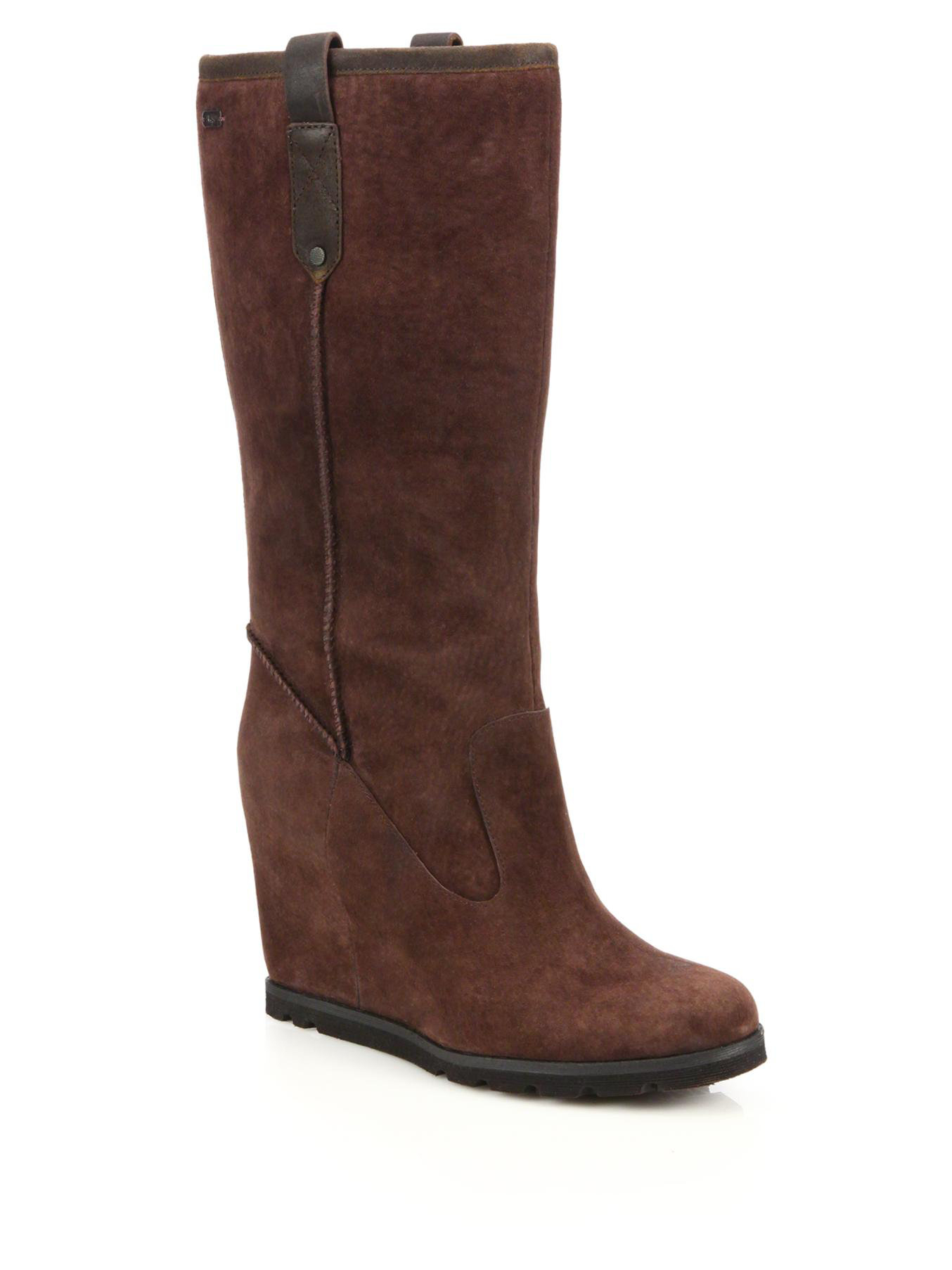b8068e603dd9 ... official store lyst ugg soleil suede shearling wedge boots in brown  06553 39a66 ...