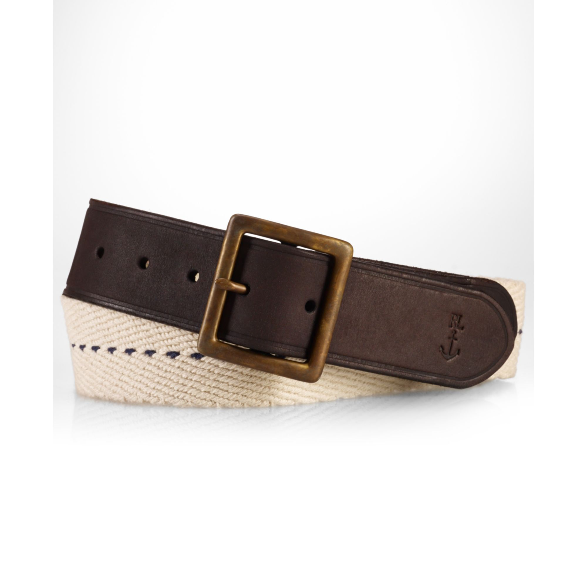 polo ralph polo braided cotton leather belt in