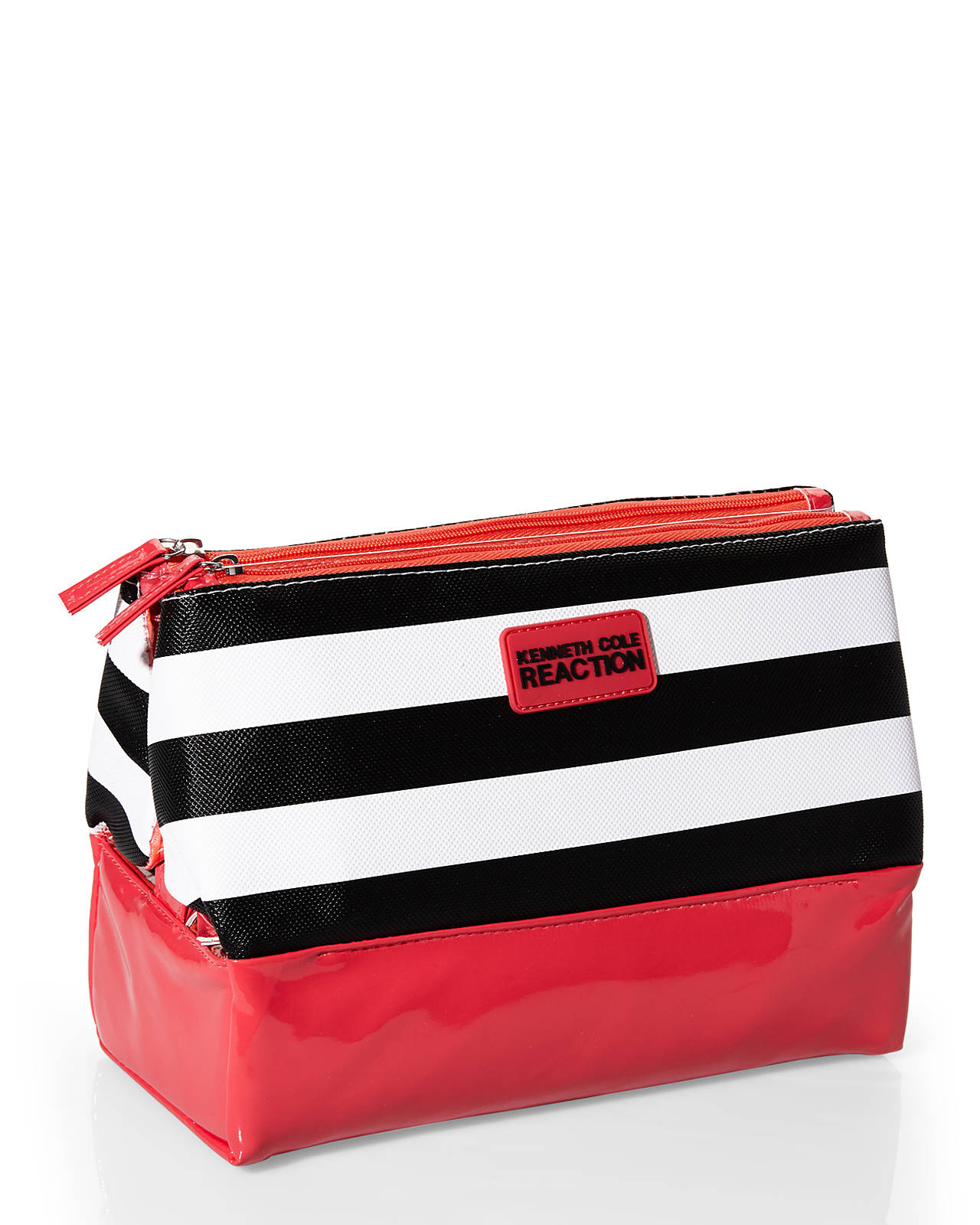 Lyst - Kenneth Cole Reaction 3-compartment Striped Cosmetic Bag in Black b1a6f773029d5