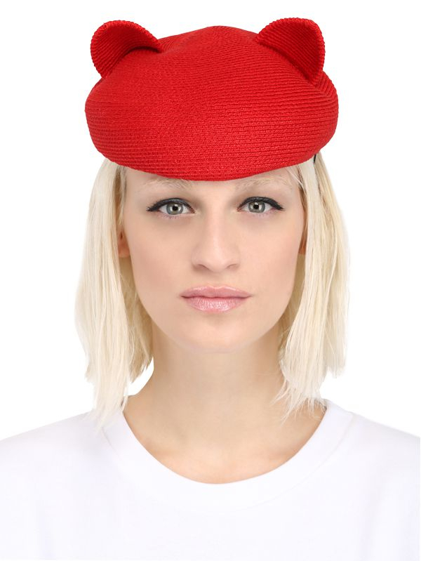 bd2bf0b5ebc Eugenia Kim Caterina Cat Ears Straw Hat in Red - Lyst