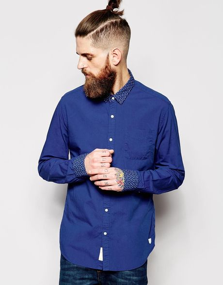 Scotch Soda Shirt With Contrast Collar Cuff In Blue