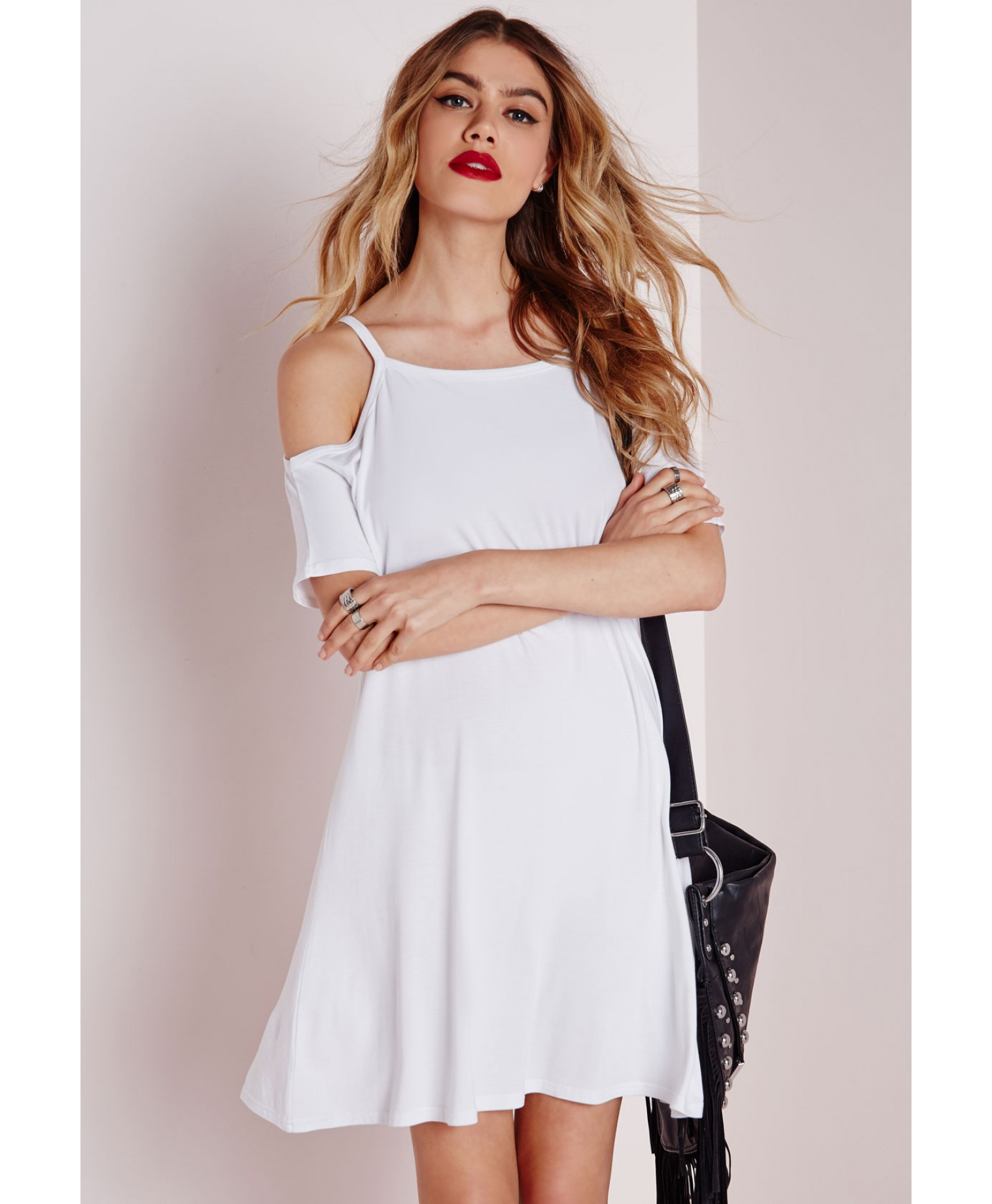 89e09599baa68 Lyst - Missguided Cold Shoulder Swing Dress White in White
