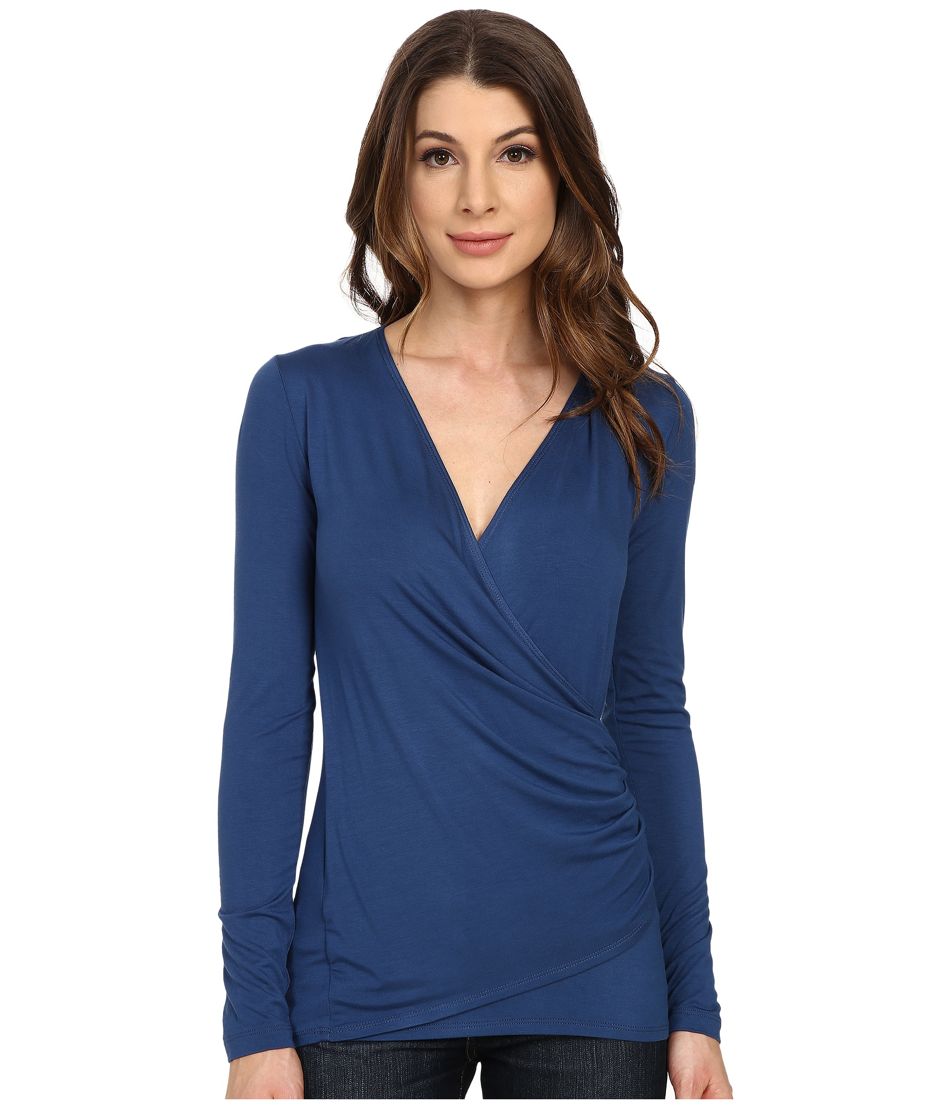 e5e11c83c23c Karen Kane Long Sleeve Faux Wrap Top in Blue - Lyst