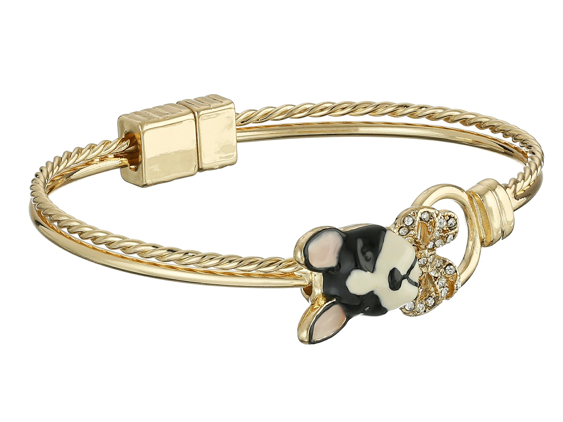 Betsey Johnson Sugar Critters Bow And Dog Magnet Bracelet In