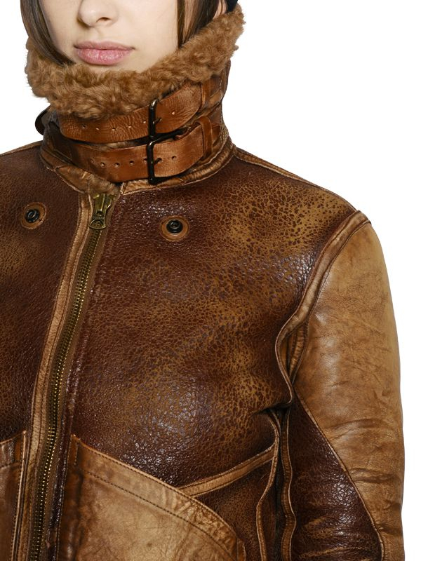 Polo Ralph Lauren Shearling Leather Jacket In Brown Lyst