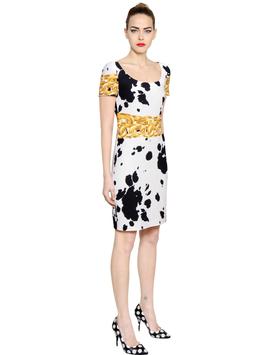 ... Lyst - Boutique moschino Cow Printed Stretch Techno Crepe Dress in Black  big sale 3c06c 14b56 ... 72a908683