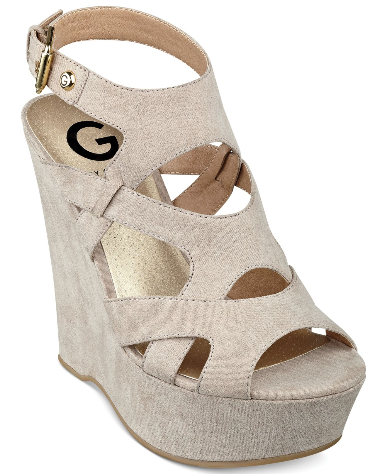 Lyst G By Guess Hizza Platform Wedge Sandals In Natural