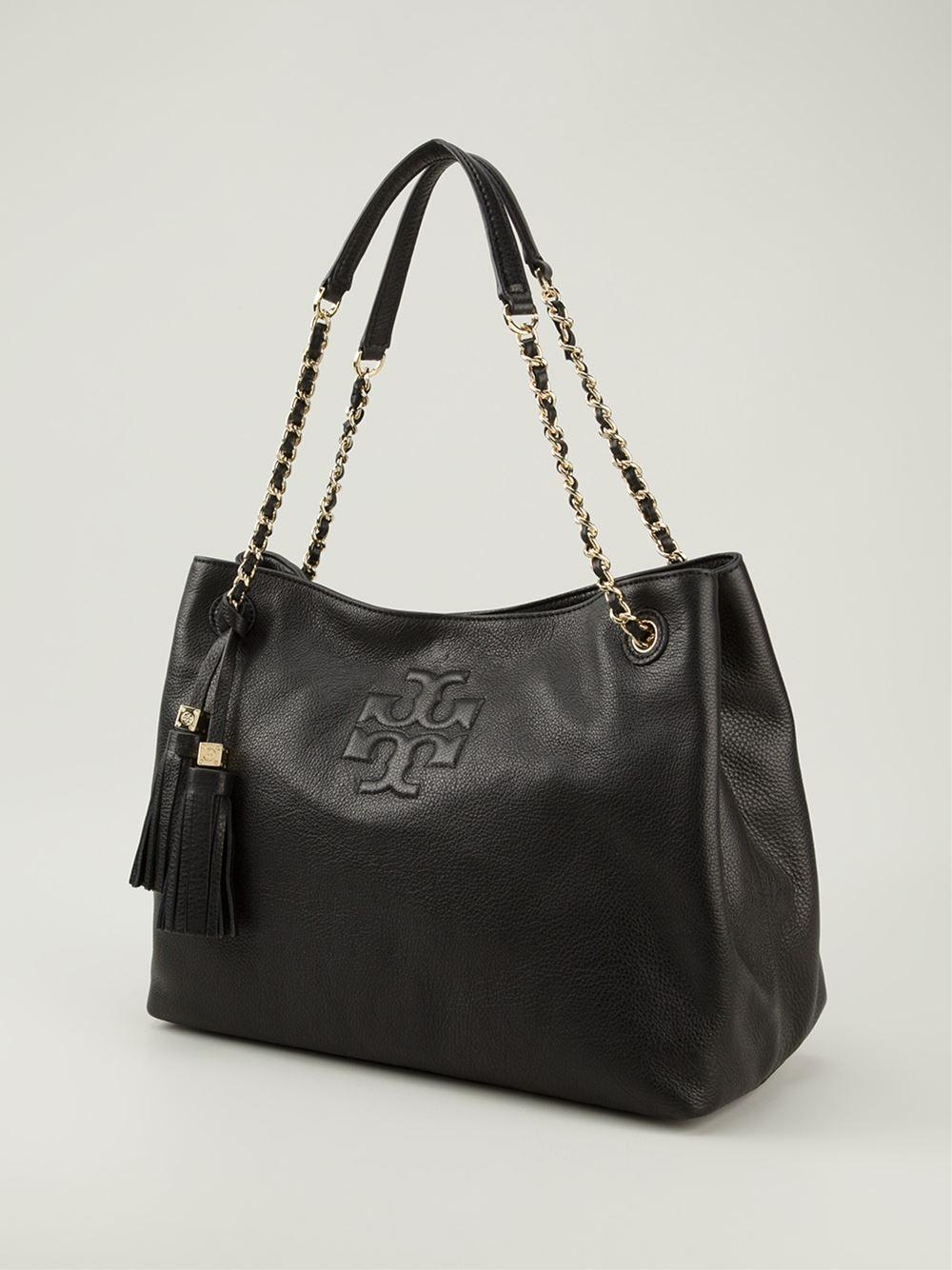b06cbd118aa Lyst - Tory Burch Thea Shopper Tote in Black