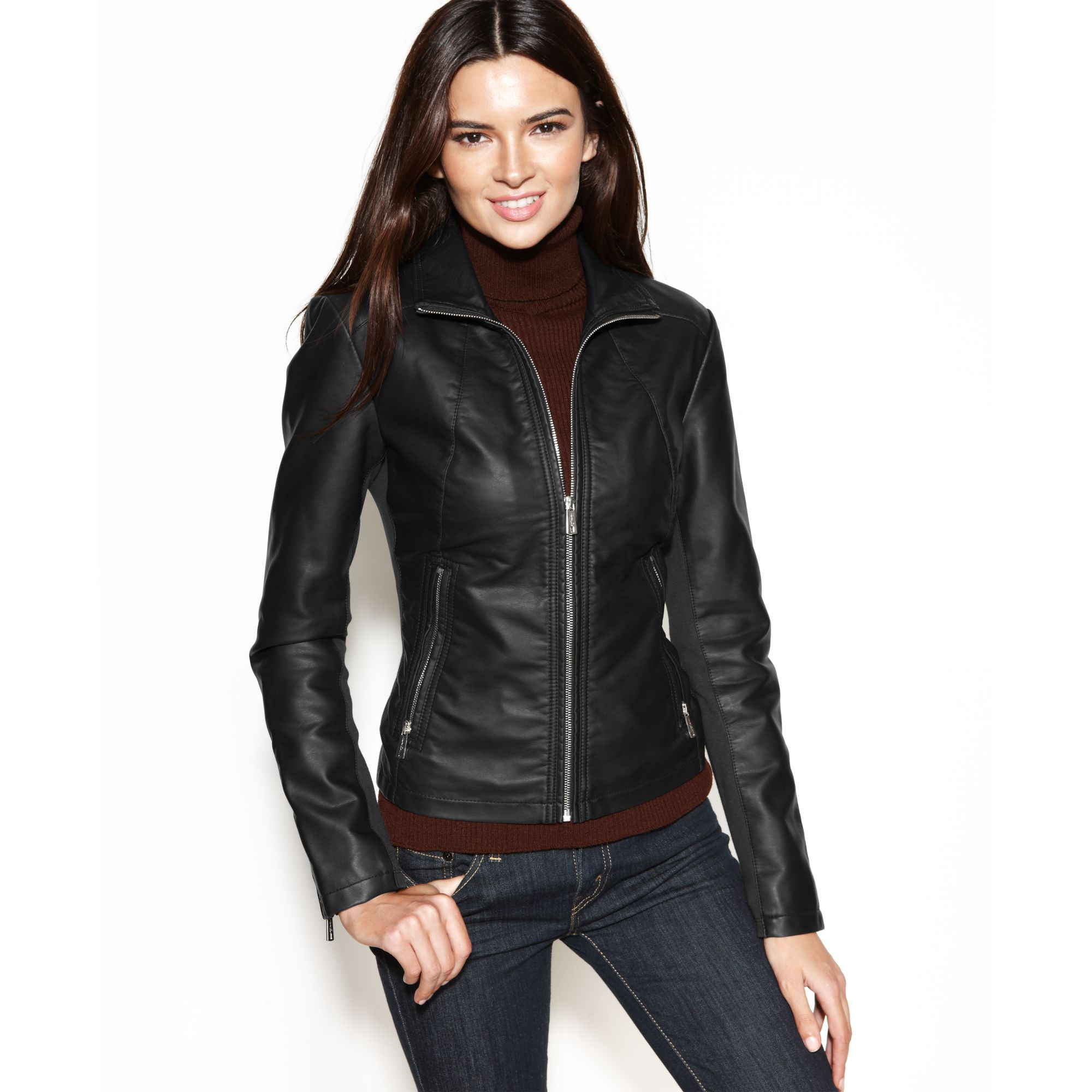 Images of Faux Leather Jacket For Women - Watch Out, There's a ...