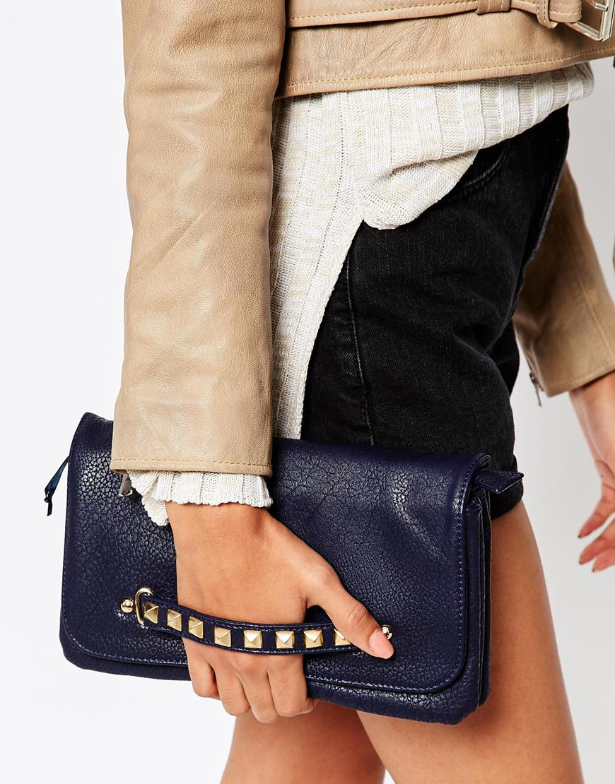 Urban Originals Clutch Bag With Studded Handle In Blue Lyst