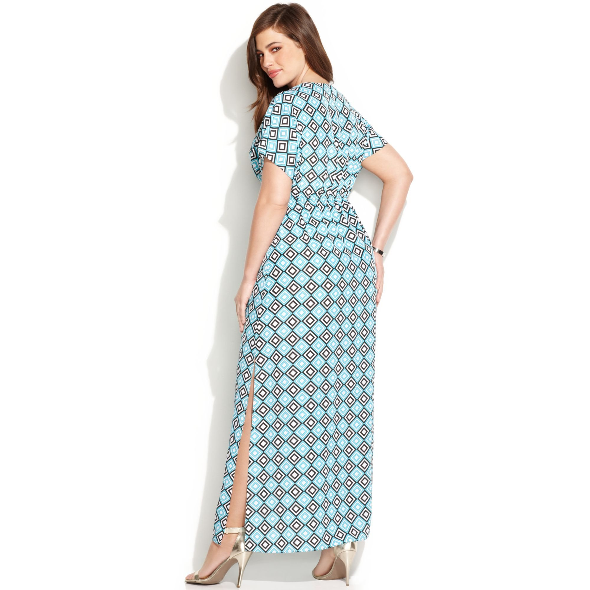 bd3f5d27d2d Michael Kors Michael Plus Size Shortsleeve Printed Maxi Dress in ...