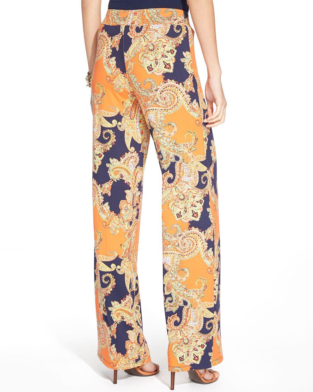 Ralph lauren Lauren Paisley Print Wide Leg Pants in Orange | Lyst