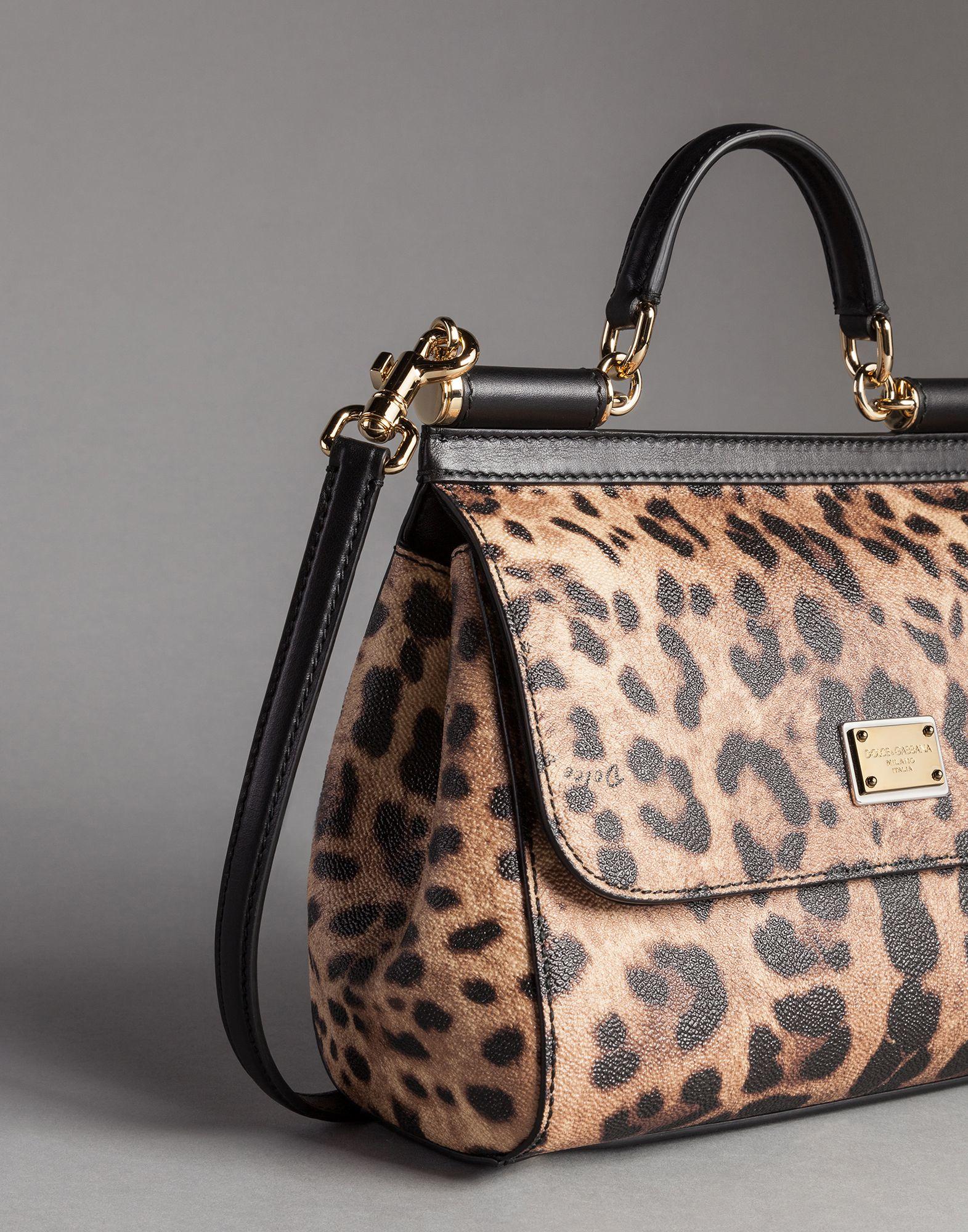 7c5b40f0c523 Lyst - Dolce   Gabbana Medium Sicily Bag In Leopard Textured Leather ...