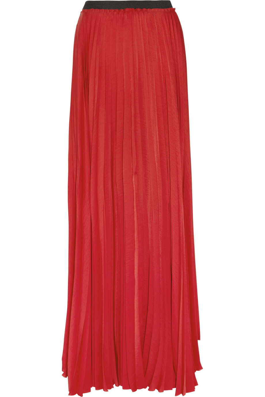 how to wear red pleated maxi skirt