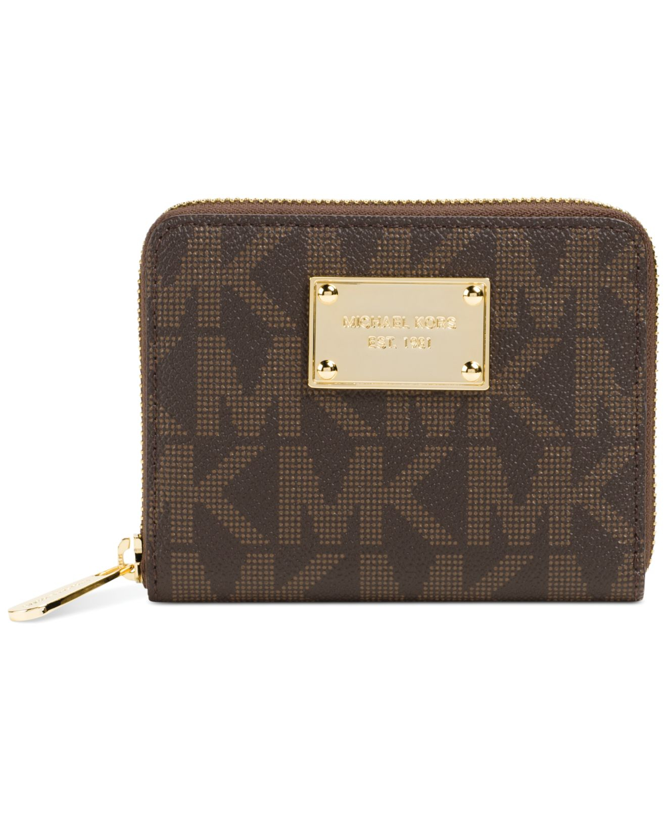 20812732fba7 Lyst - Michael Kors Michael Jet Set Item Medium Zip Around Wallet in ...