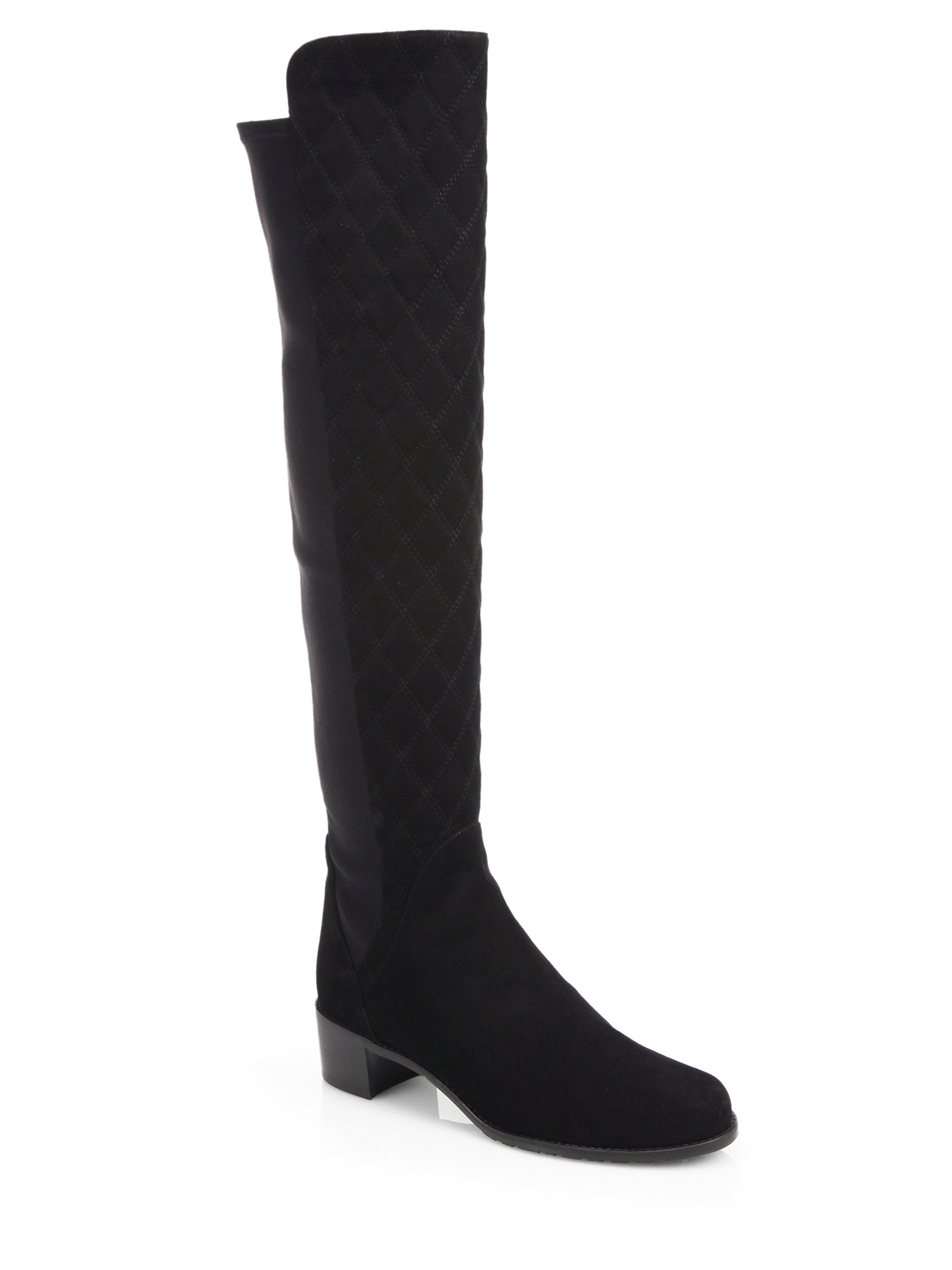 stuart weitzman quiltoga suede knee high boots in black lyst