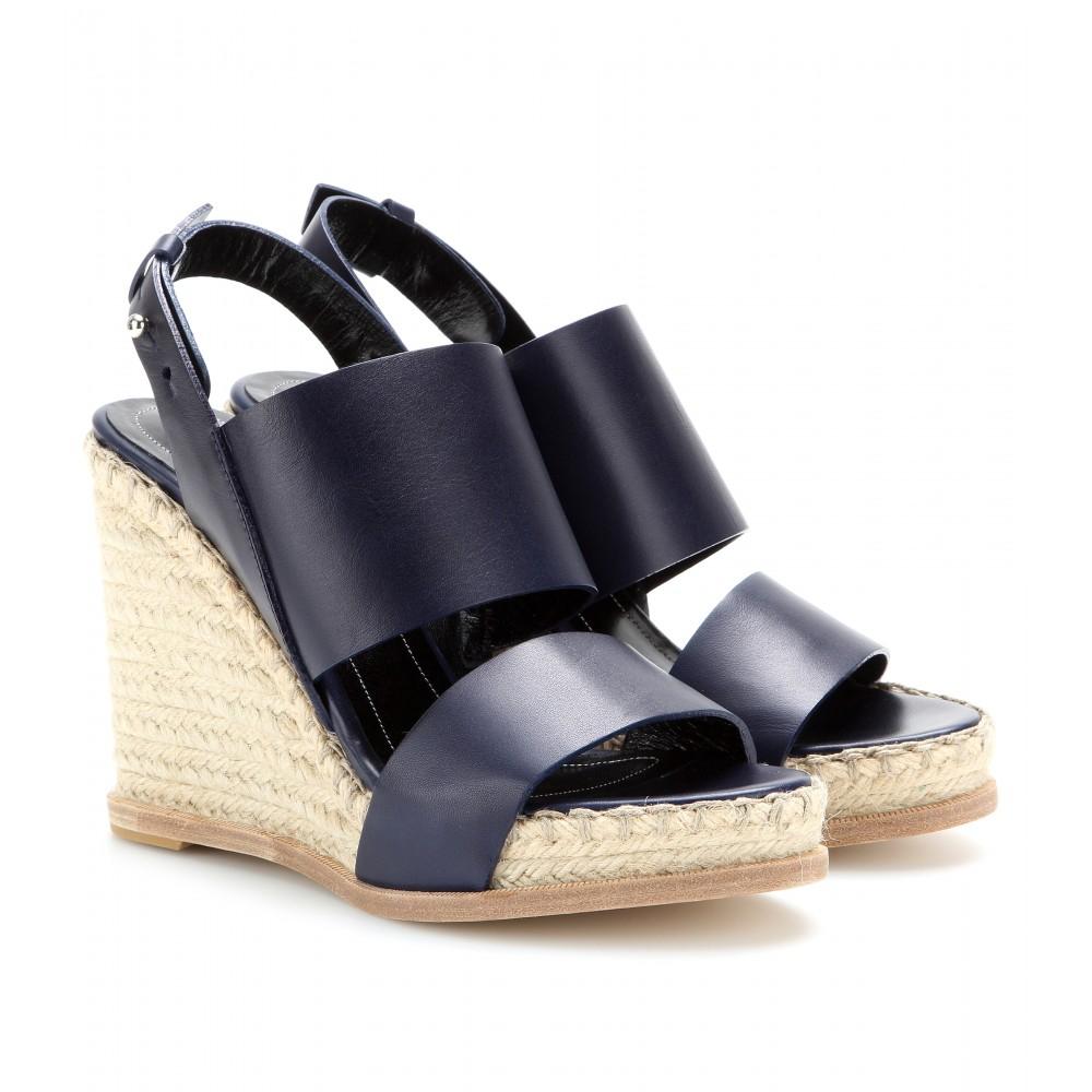 balenciaga leather espadrille wedge sandals in blue lyst