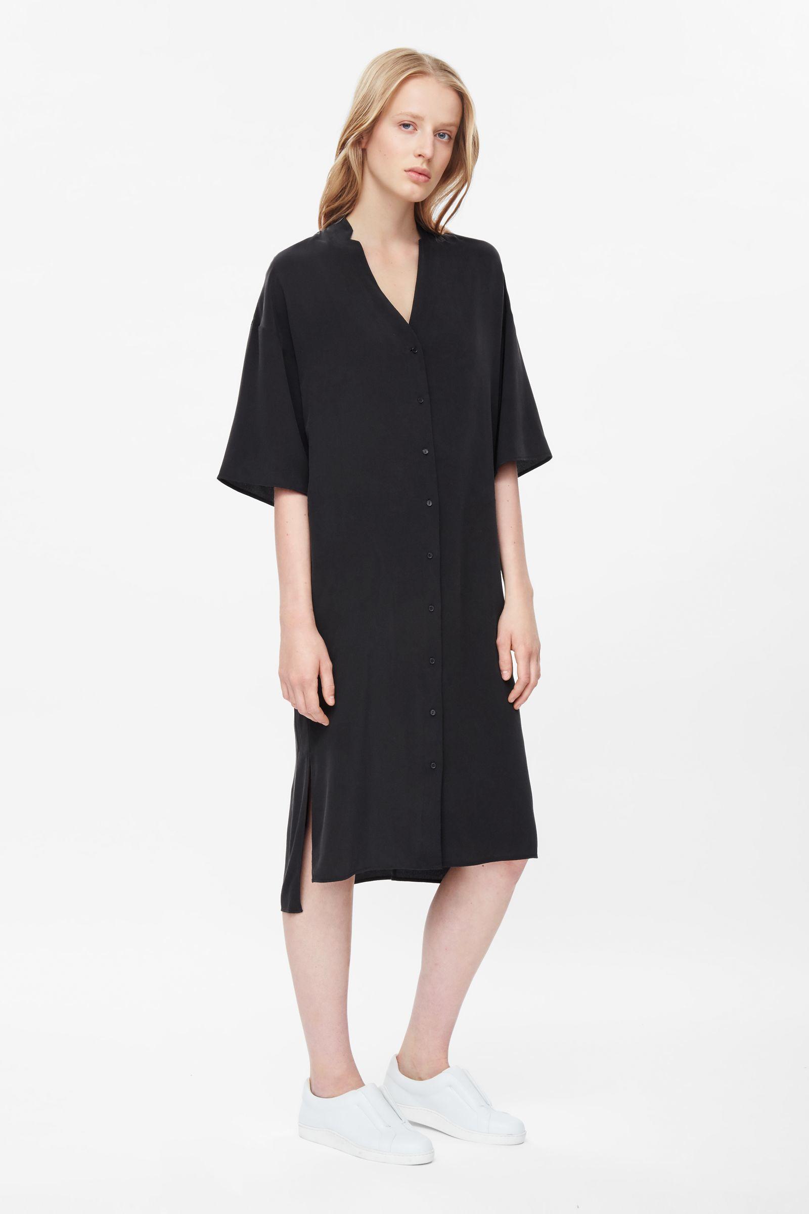 cos v neck silk shirt dress in black lyst
