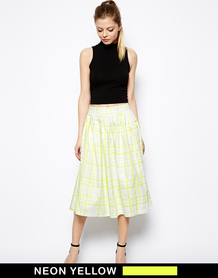 asos midi skirt in neon check in yellow lyst