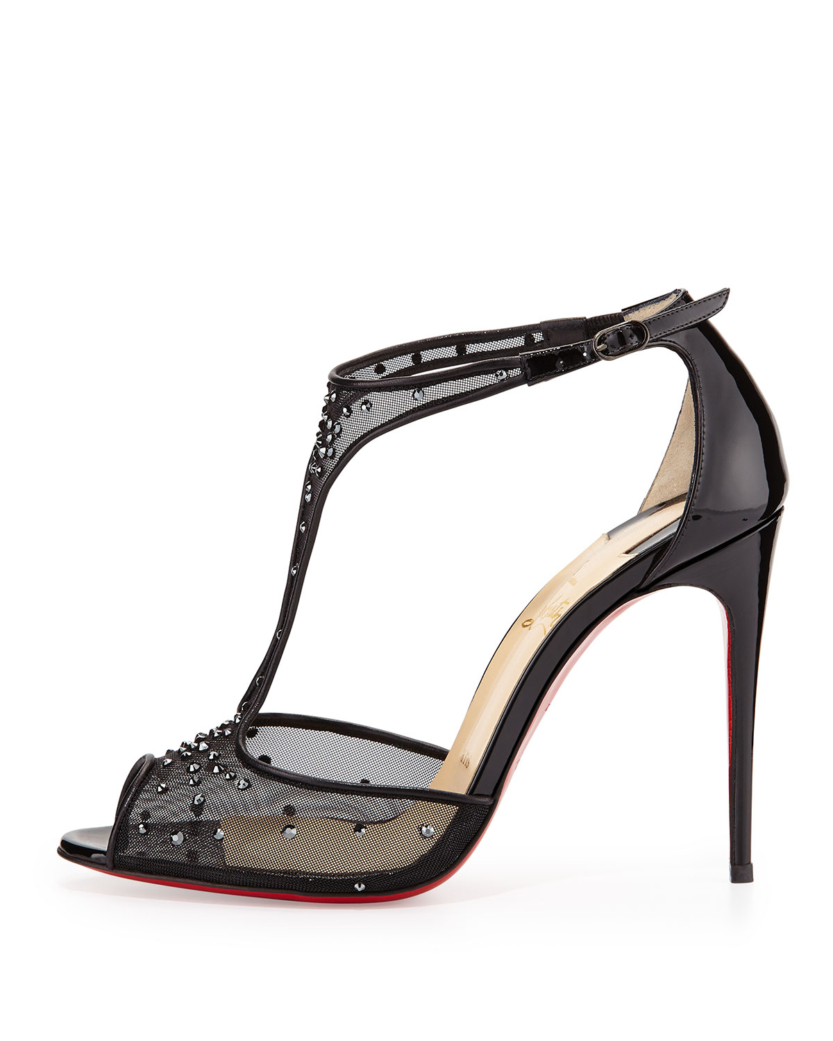 christian louboutins sneakers for men - Christian louboutin Patinana Strass Red Sole Sandal in Black (red ...